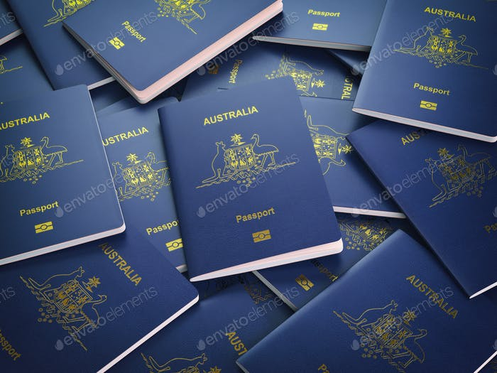 Passports of Australia background. Immigration or travel concept