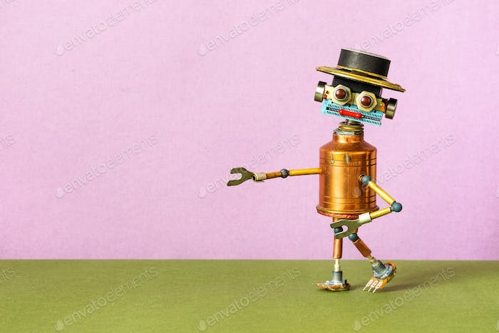 Creative design copper mister robot with a funny hat