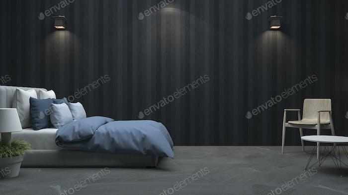 3d rendering black wood wall bedroom with nice light
