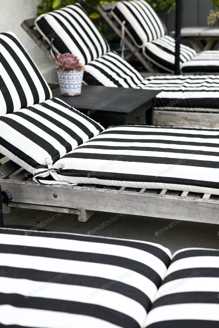 Striped wooden seats