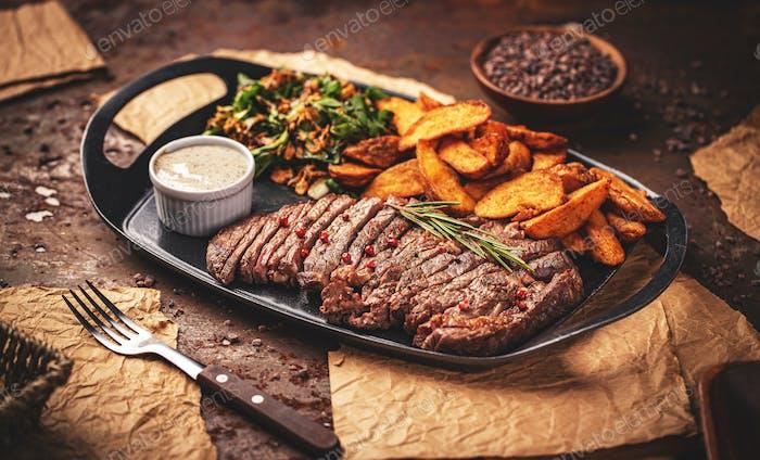 Grilled sliced steak Rib eye