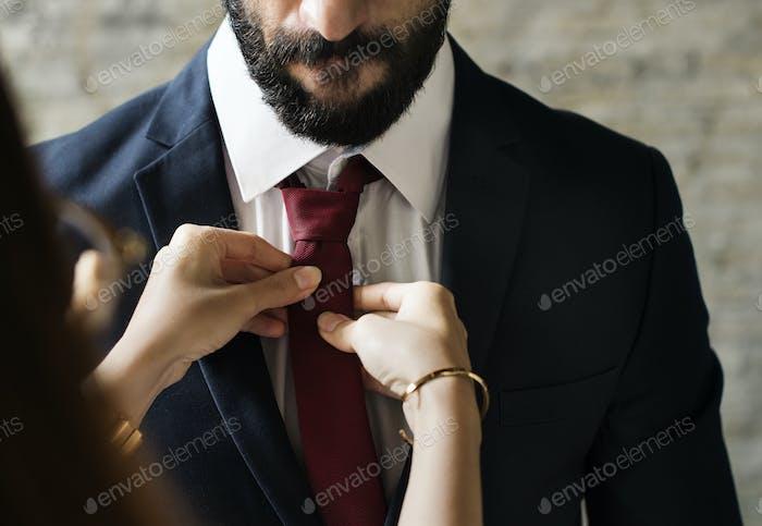 Classy mann dressing up
