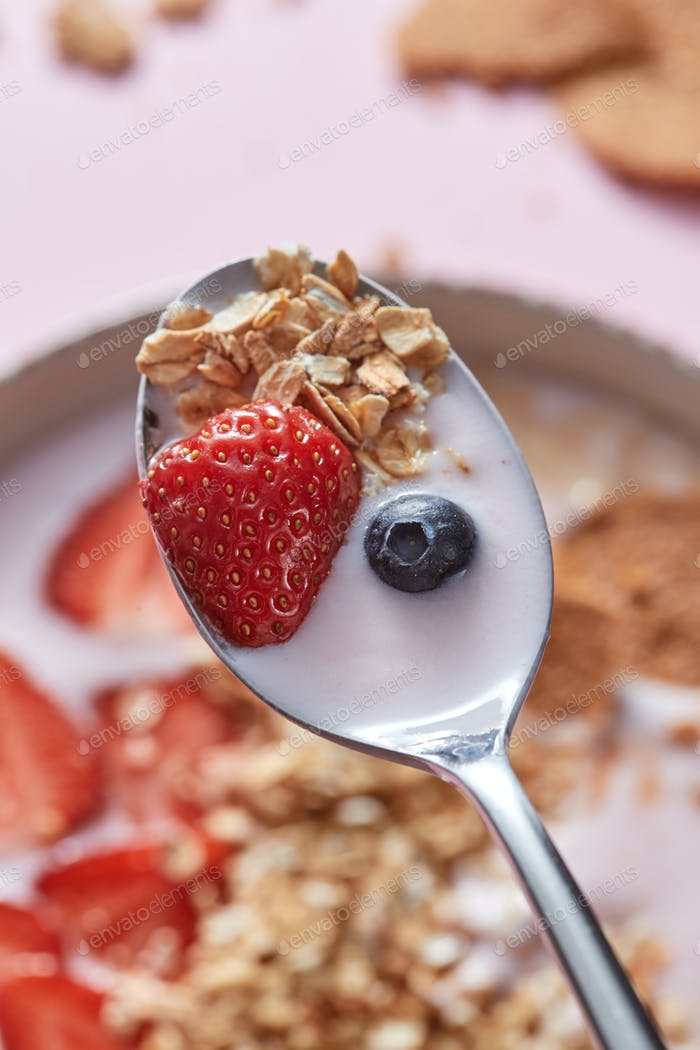 Dietary homemade natural breakfast with fresh organic ingredients - berries, granola, nuts and milk