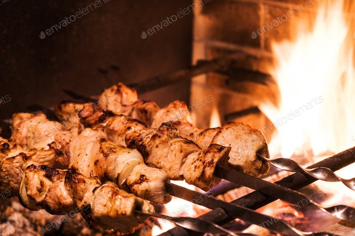 Turkey kebab on the grill closeup