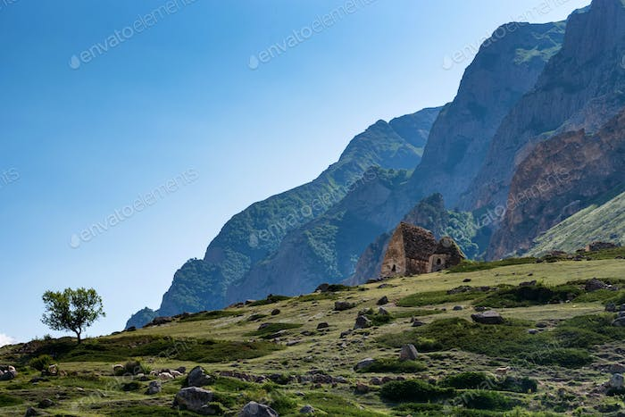 Distant view of medieval tombs in City of Dead near Eltyulbyu, Russia