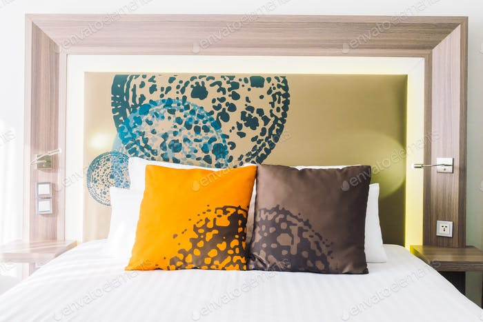 Beautiful pillow on bed