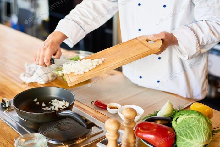 The chef prepares