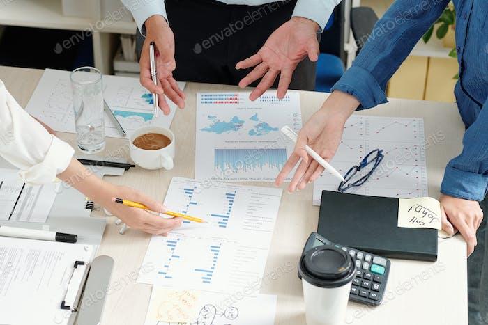 Discussing company financial statistics