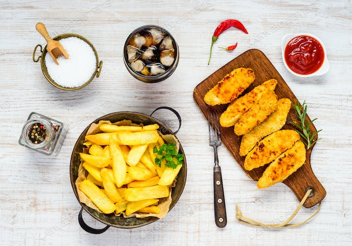 Fast Food Fish Fingers with French Fries and Cola