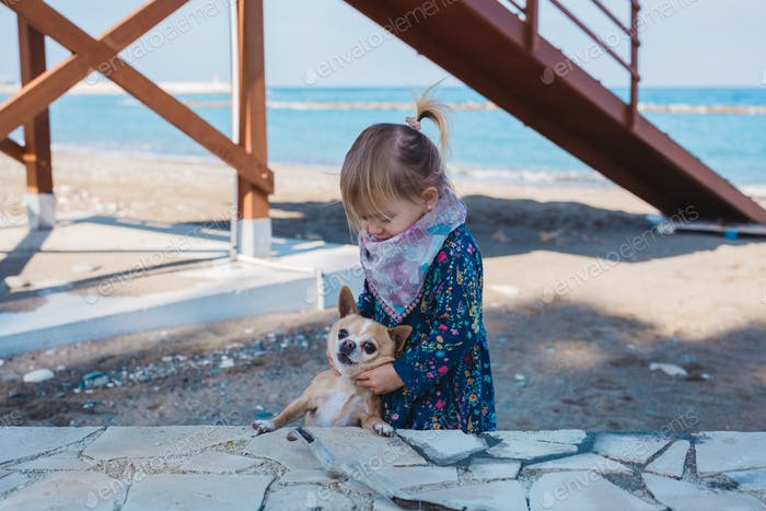 Little girl with chihuahua dog, outdoor summer