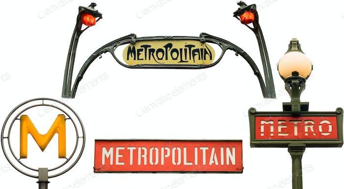 Set of metro signs in Paris, France