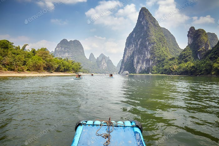Li River bamboo raft from Guilin to Xingping, China.