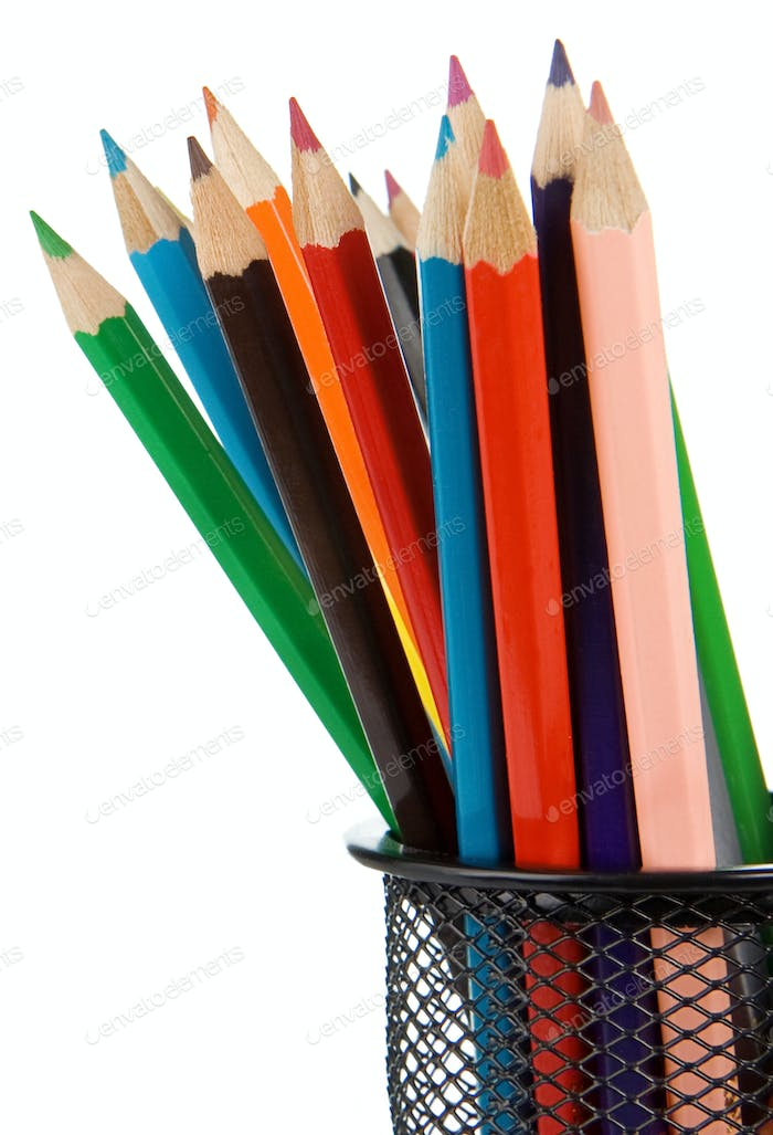 holder basket full of pencils isolated on white