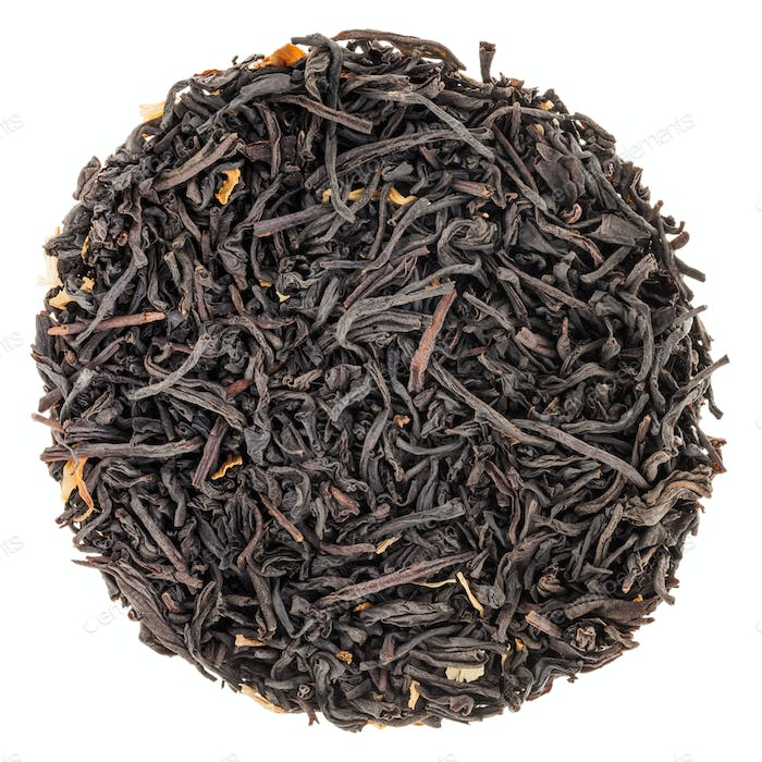 Circle of Black Tea Isolated on White Background
