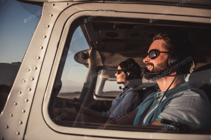 Couple in aircraft