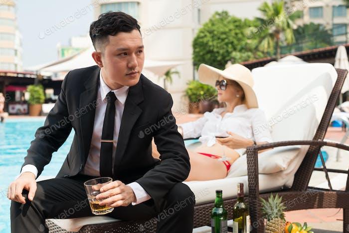 Businessman resting at resort