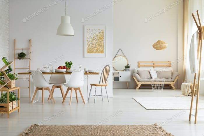 Simple, bright dining room