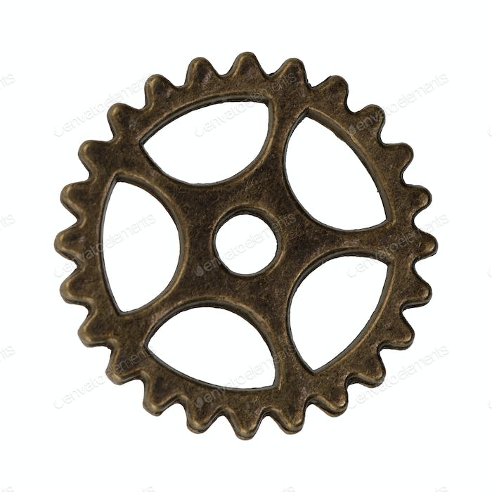 Brass gear on a white background