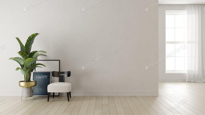 Interior of modern living room 3 D rendering