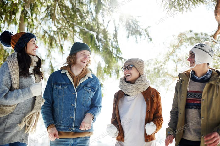 Laughing Young People Enjoying Winter Vacation