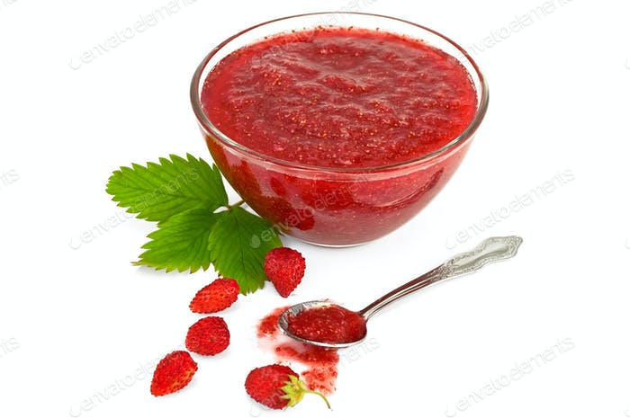 Jam of strawberry with berries