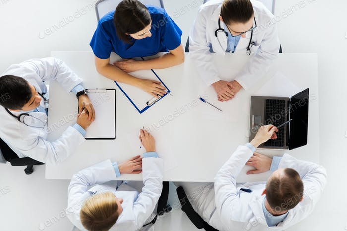 group of doctors on conference at hospital