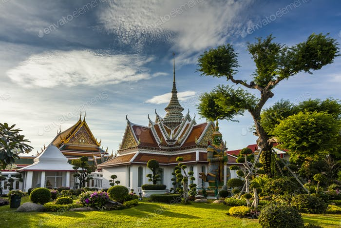 Wat Arun on the background of blue sky. Bangkok. Thailand