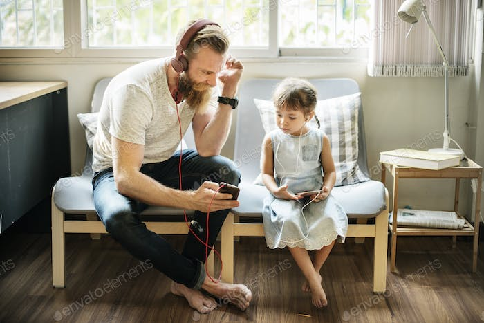 Father Daughter Entertainment Family Earphone Concept