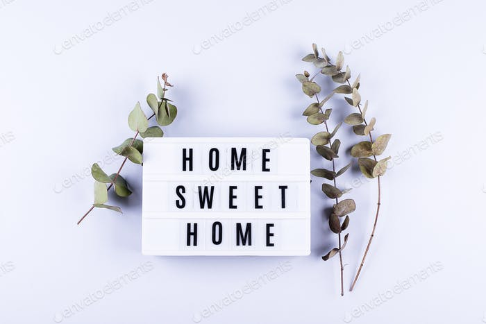Home Sweet Home Text Light box letters Top view Flat Lay with eucalyptus flower on grey background.
