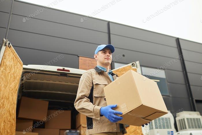 Man unloading the van