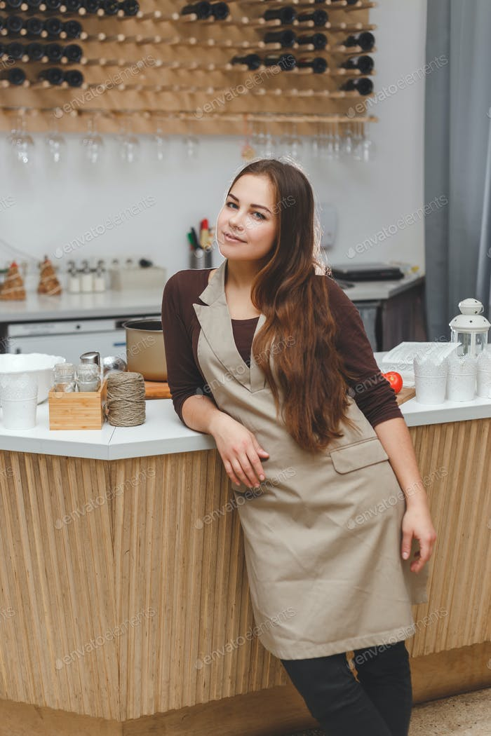 Portrait of beautiful young barmaid in apron standing at the bar
