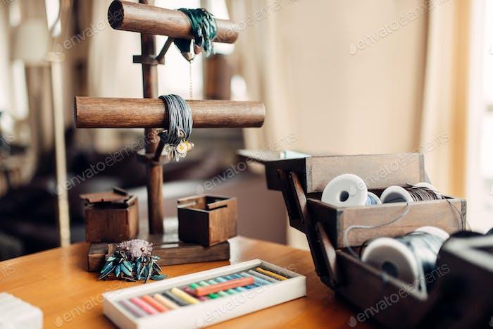 Needlework hobby, handmade bracelets, bijouterie