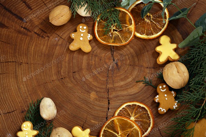 Wooden Christmas Background with Gingerbread