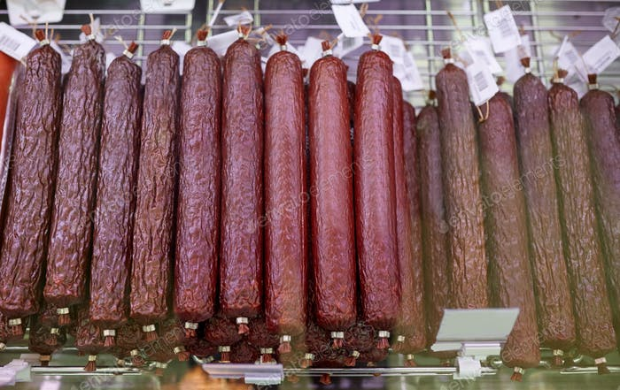 salami sausage at grocery store stall