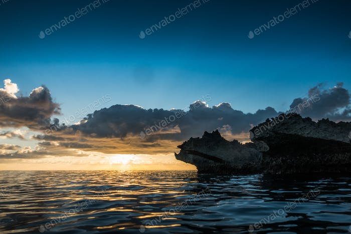 Big volcanic rocks in sunset lights in San-Andres island, Caribb