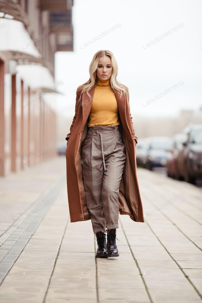 Blonde Woman Wearing In Stylish Coat In City