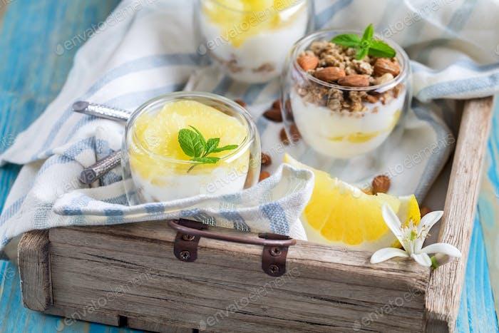 Yogurt with granola and grapefruit