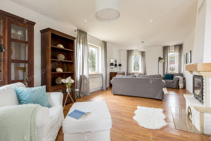 Living room in light colours