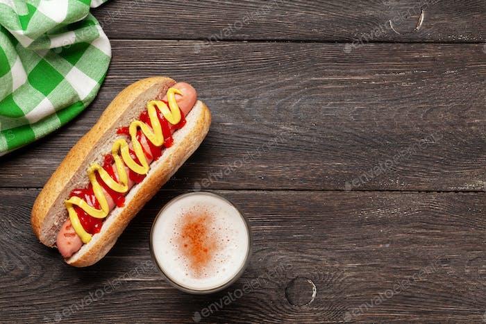 Hot dog with mustard and ketchup