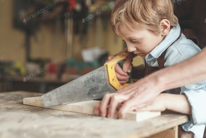 Father and son in carpentry