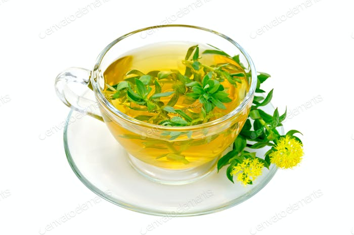 Herbal tea with flowers Rhodiola rosea in a glass cup