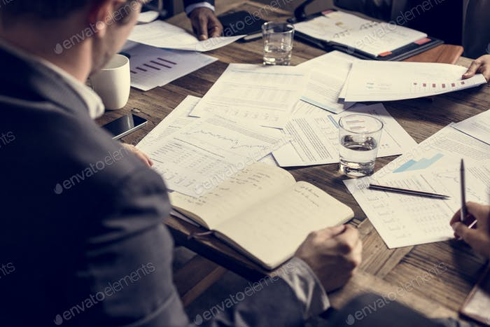 People in business meeting with crisis situation