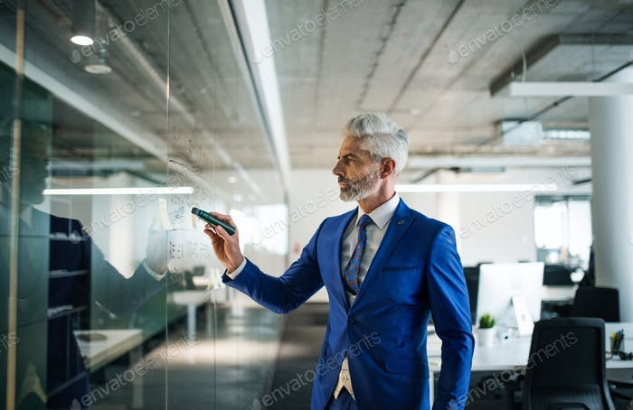 Portrait of mature businessman standing in an office, brainstorming.