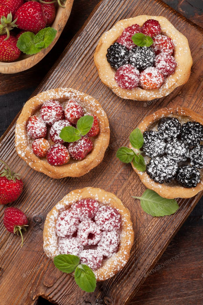 Set of cakes with berries