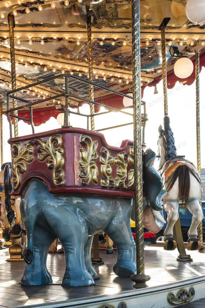Carousel in amusement park.