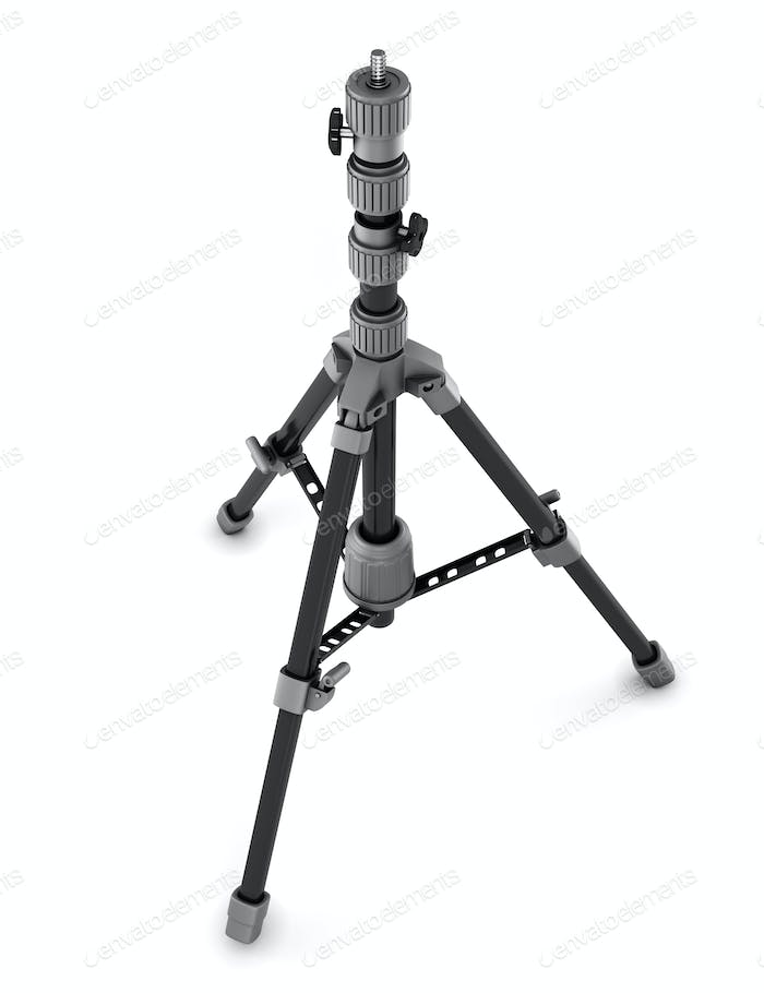 Photo tripod isolated on white background. 3d rendering