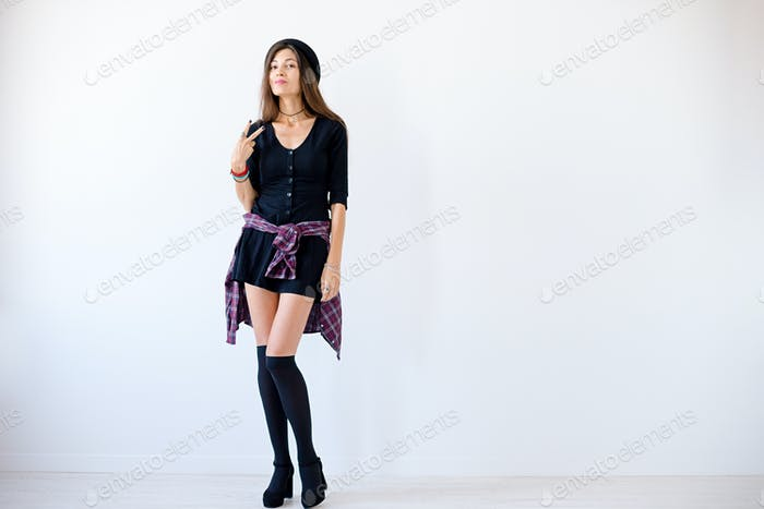 tall sexy excited hipster girl