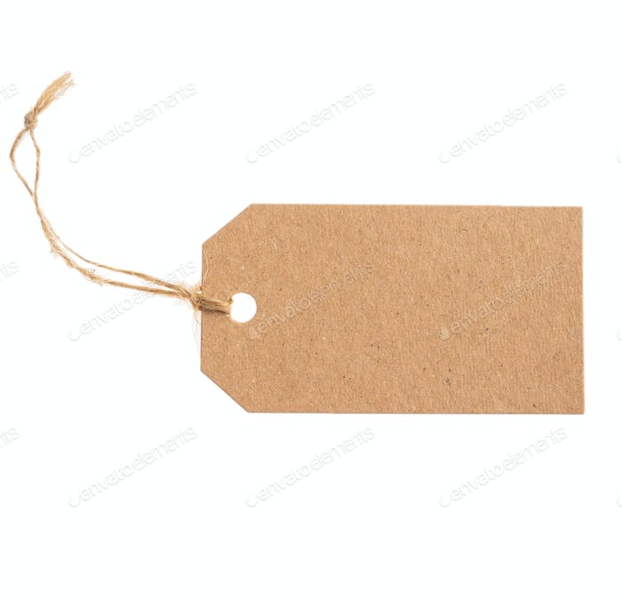 Beige recycled tag isolated on a white background, texture.