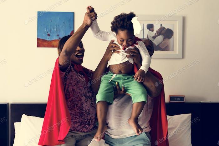 African descent dad raising his child