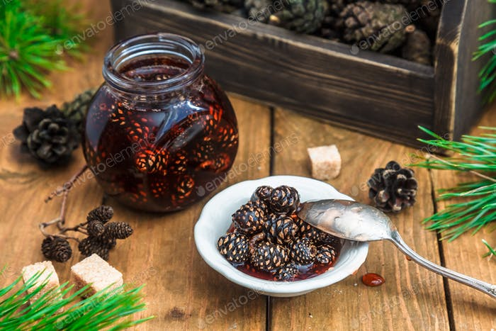Traditional Siberian sweets: young pine cones jam